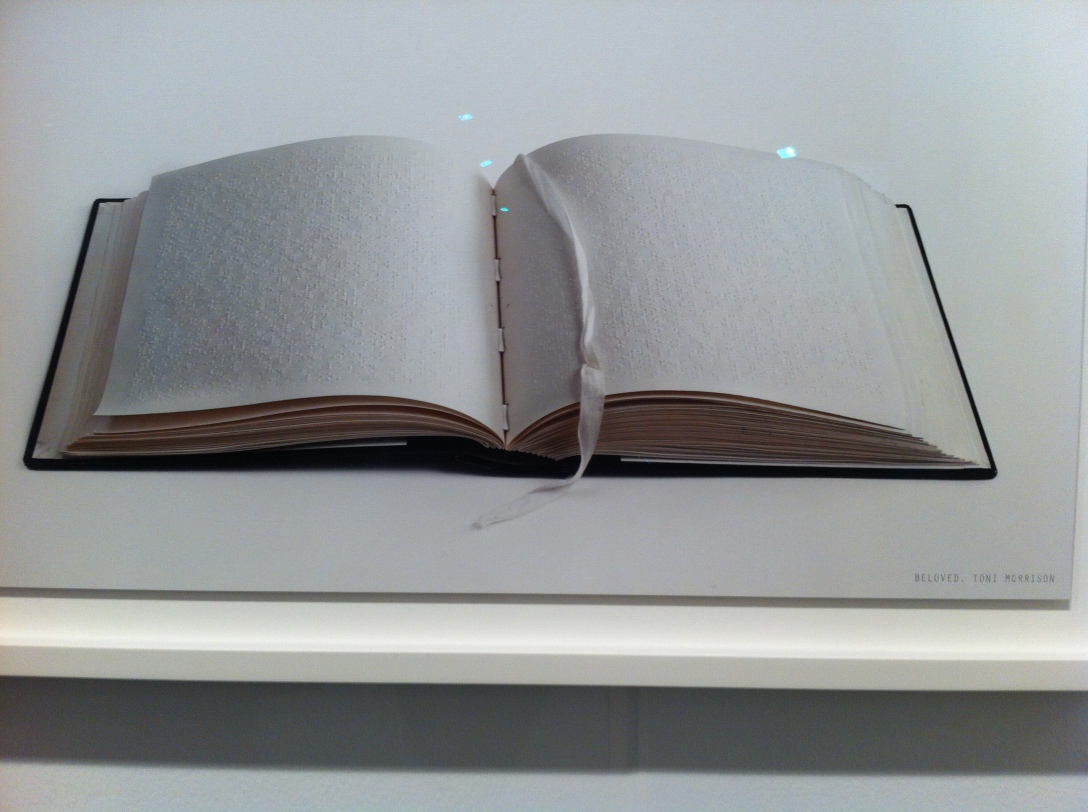 "Catherine Wagner, ""trans/literate"", Copy of Toni Morrison's Beloved in Braille.  Gallery Luisotti"