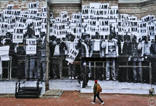 JR's wheatpaste on an abandoned building in Washington, DC, Photo Credit, Instagram