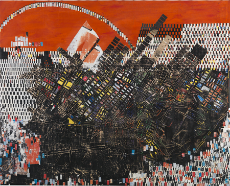 "Mark Bradford, ""Scorched Earth"", Photo Credit:  Frieze Magazine, WEXNER CENTER FOR THE ARTS, COLUMBUS, OHIO"