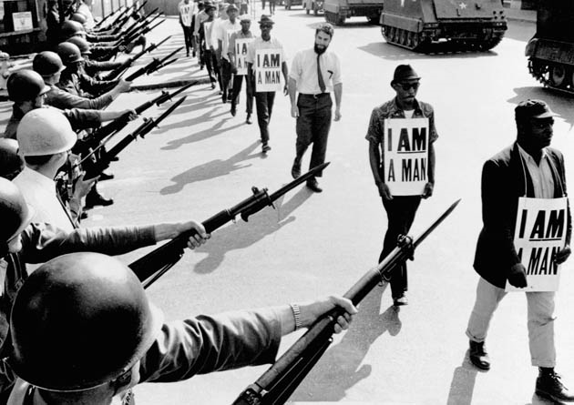 Memphis Sanitation Worker's Strike, 1968.  Photo Credit:  Huffington Post