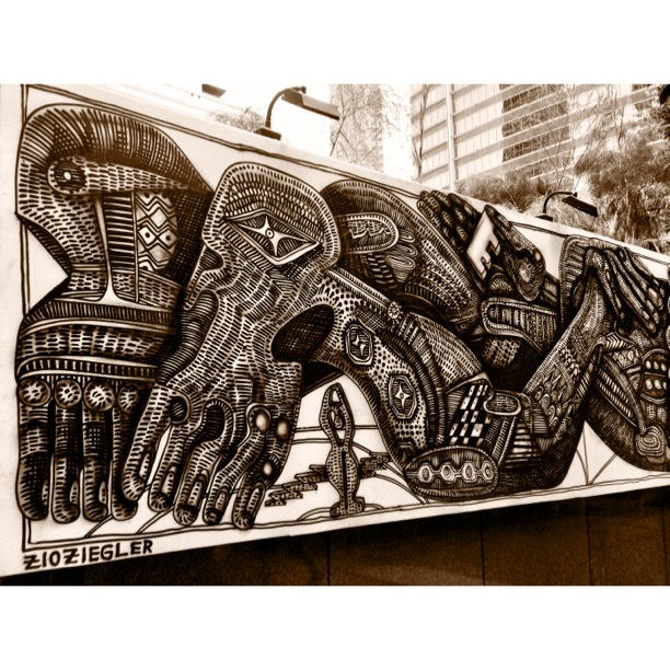 Mural by Zio Ziegler at the Standard, Downtown Los Angeles