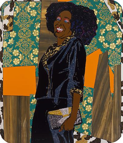 "Mickalene Thomas, ""Mama Bush (your love keeps lifting me) higher and higher""  Photo c/o Lehmann Maupin"