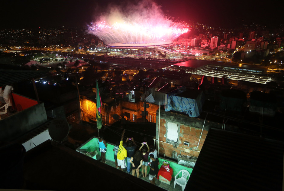 Fireworks Explode Over Rio's Maracana Stadium During The 2016 Olympic Games Opening Ceremony