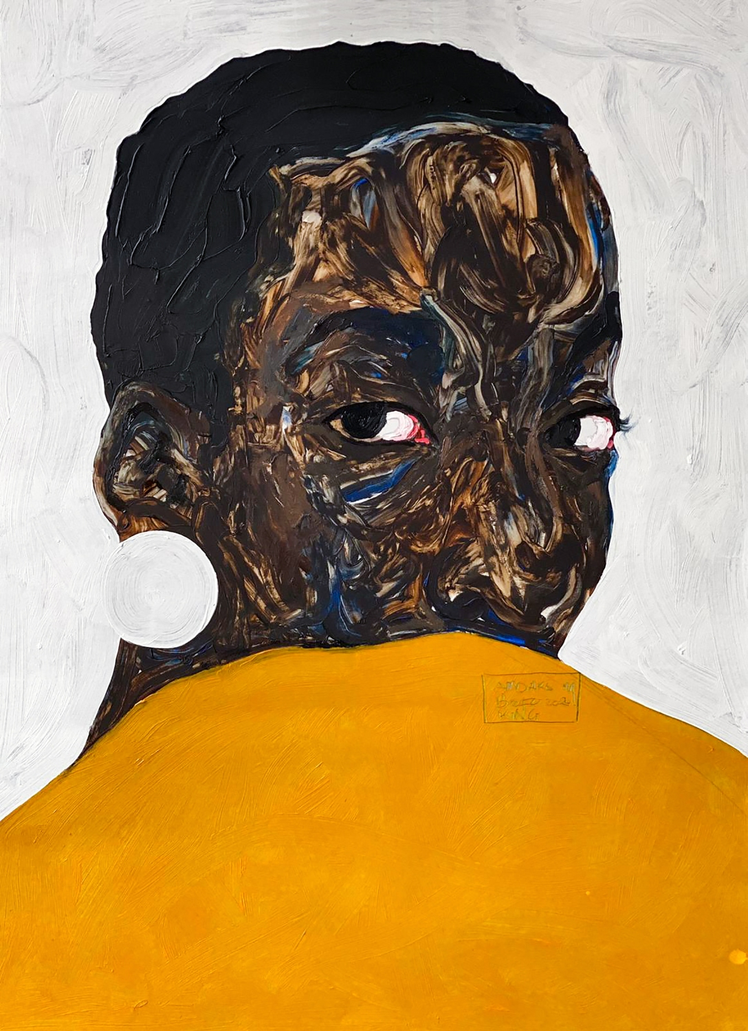 Amoako Boafo, Aurora Iradukunda, 2020, Oil on canvas, 70cm x 50cm, Courtesy of the artist and Mariane Ibrahim Gallery_