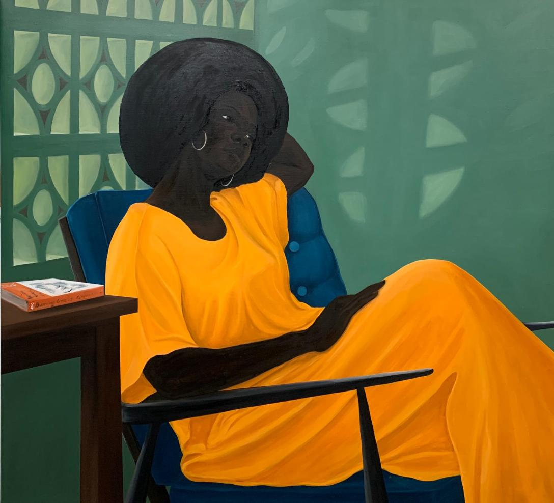 Peter Uka, Reflecting, 2020, Oil on canvas, 110 x 120 cm, Courtesy of the artist and Mariane Ibrahim.